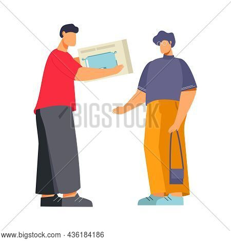 Flat Appliance Store Icon With Character Of Customer Buying Toaster And Seller Vector Illustration