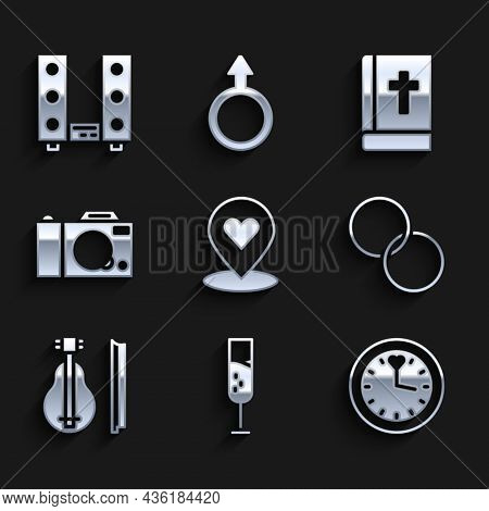 Set Location With Heart, Glass Of Champagne, Clock, Wedding Rings, Violin, Photo Camera, Holy Bible