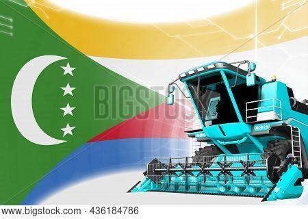 Digital Industrial 3d Illustration Of Blue Advanced Wheat Combine Harvester On Comoros Flag - Agricu