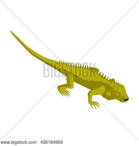 Green Lizard On White Background Isometric Icon 3d Vector Illustration