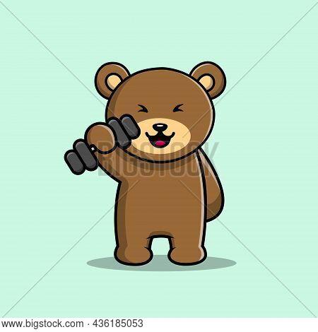 Teddy Bear Fitness Gym Vector Icon Illustration. Sport Bear Mascot Cartoon Character. Animal Icon Co