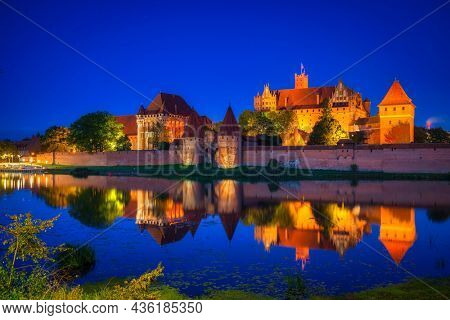 Malbork Castle of the Teutonic Order at night, Poland