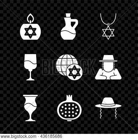 Set Burning Candle, Bottle Of Olive Oil, Star David Necklace On Chain, Jewish Goblet, Pomegranate, O