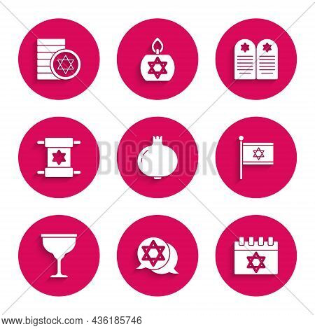 Set Pomegranate, Star Of David, Jewish Calendar, Flag Israel, Goblet, Torah Scroll, Tombstone With S