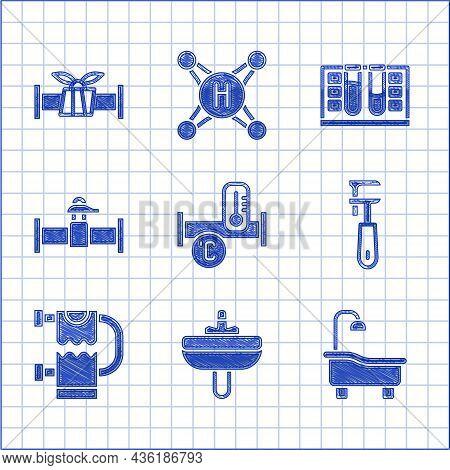 Set Industry Metallic Pipe, Washbasin, Bathtub, Pipe Adjustable Wrench, Heated Towel Rail, And Valve