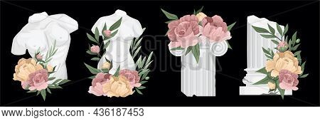 Antique Greek Columns Composition Set Two Figures With A Naked Torso And Two Columns In Flowers Vect