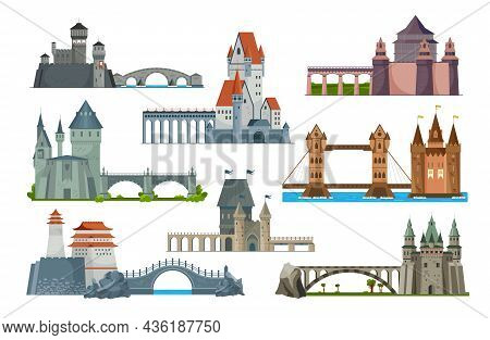 Bridges Castle Icon Set With Bridges Serving As Road To Castle And For Crossing The River Or Sea Vec