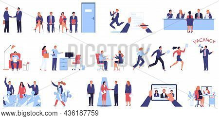 Job Search Recruitment Hr Set Of Isolated Icons With Human Characters Of Job Candidates And Employer