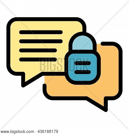 Encrypted Chat Icon. Outline Encrypted Chat Vector Icon Color Flat Isolated