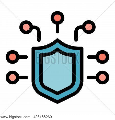 Cyber Shield Icon. Outline Cyber Shield Vector Icon Color Flat Isolated