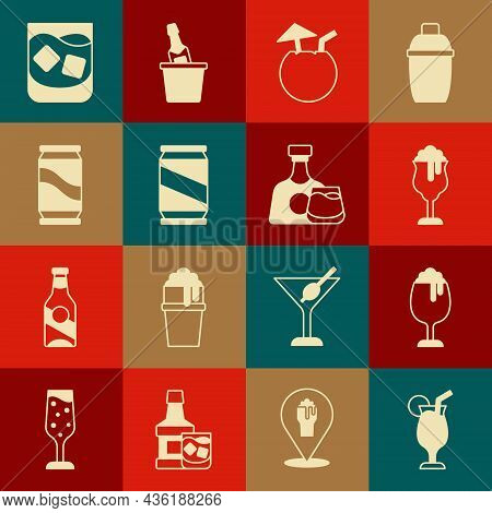 Set Cocktail, Glass Of Beer, Coconut Cocktail, Beer Can, Whiskey And Whiskey Bottle And Glass Icon.