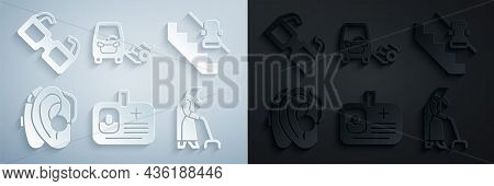 Set Identification Badge, Disabled Elevator, Hearing Aid, Grandmother, Car And Eyeglasses Icon. Vect