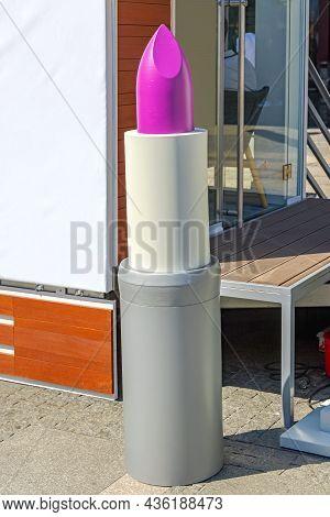 Big Purple Lipstick Makeup Mockup Model Outside