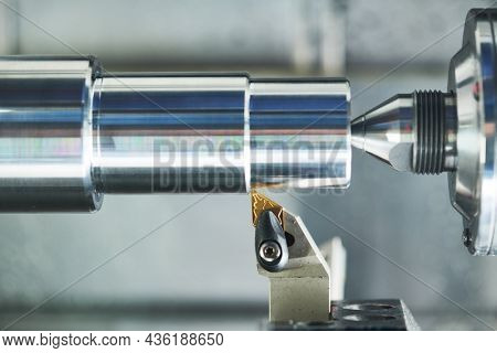 turning operation on cnc machine. metal cut industry for manufacturing and machining