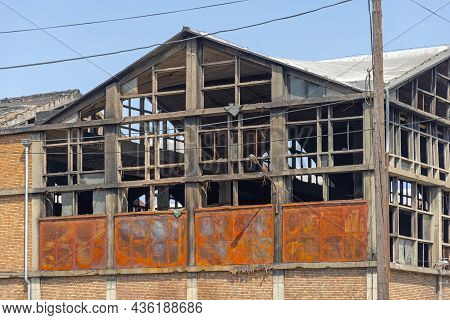 Old Factory Building Damaged By Fire Incident