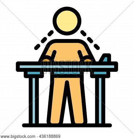 Ergonomic Position Icon. Outline Ergonomic Position Vector Icon Color Flat Isolated