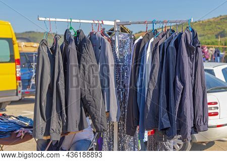 Second Hand Suits And Jackets For Sale At Flea Market