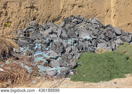 Various Reject Material Waste At Illegal Industrial Dumping Grounds