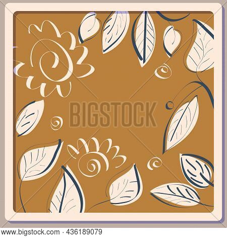 Background With A Sketch Of Leaves On Kraft Paper. Vector Illustration