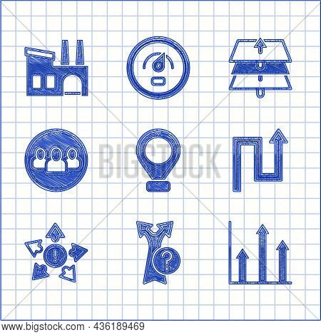 Set Location, Arrow, Pie Chart Infographic, Many Ways Directional Arrow, Project Team Base, Layers A
