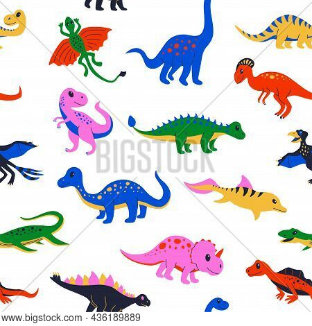 Dinosaur Pattern. Seamless Print With Cute Colourful Prehistoric Reptiles For Kid Illustration. Vect