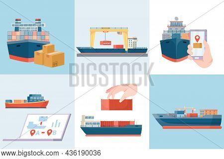 Delivery Sea Set Of Six Square Compositions With Flat Images Of Freight Cargo Ships And Tracking Vec