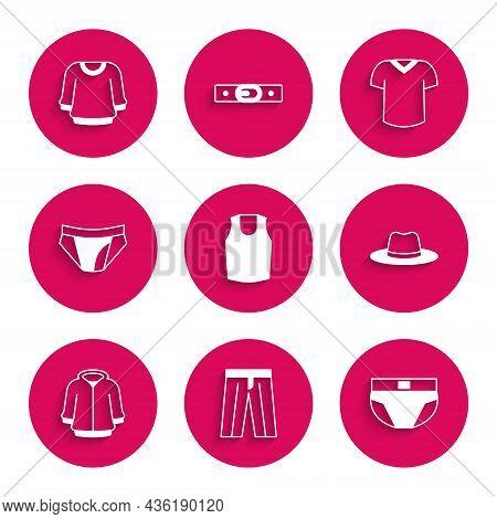 Set Undershirt, Pants, Men Underpants, Man Hat, Hoodie, T-shirt And Sweater Icon. Vector