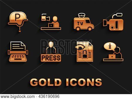Set Journalist News, Cinema Camera, Television Report, Journalistic Investigation, Retro Typewriter,