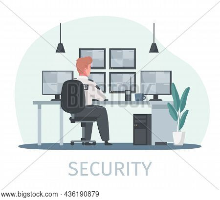 Security Guard Agency Service Cartoon Composition With Text And Human Character Sitting At Workplace