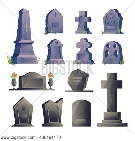 Cemetery Gravestone Icon Set Tombstones Old And New In Different Sizes And Colors With Flower Beds V