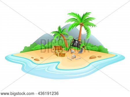 An Image Of A Uninhabited Island On Which There Is An Open Chest With Treasures Cartoon Vector Illus
