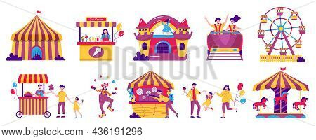 Amusement Park Color Set With Isolated Images Of Big Top Trampoline Food Stalls Visitors And Workers