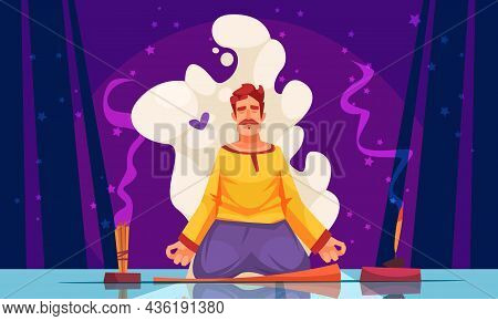 Meditation With Aromatherapy Cartoon Composition Man In Yoga Pose Meditating In Stick Incense Scent
