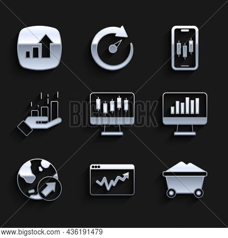 Set Stocks Market Growth Graphs, Graph Chart Infographic, Coal Mine Trolley, Monitor With, Financial
