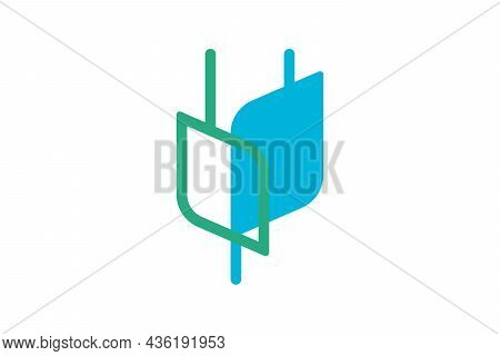 Electrical Plug In Flower Shape Logo Concept. Green Energy Electric Technology Company Abstract Logo