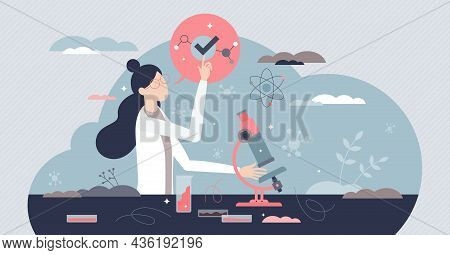 Woman Scientist With Professional Career In Laboratory Tiny Person Concept. Scientific Research Job