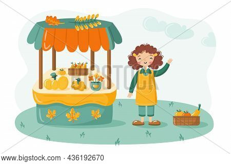 Local Food Market Stall With Fruits And Vegetables And Cute Farmer Girl. Organic Farm Products On Co