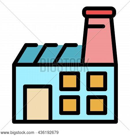 Textile Factory Icon. Outline Textile Factory Vector Icon Color Flat Isolated