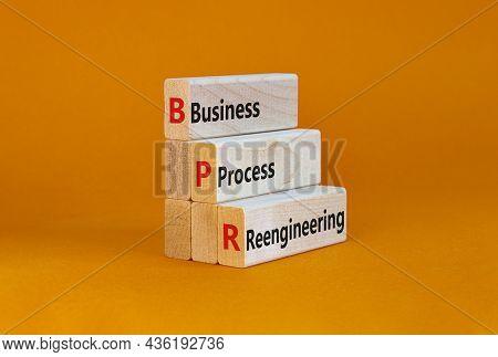 Bpr Business Process Reengineering Symbol. Concept Words Bpr Business Process Reengineering On Block