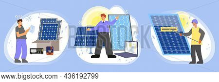 Solar Energy Set Of Three Flat Compositions With Workers Characters Unboxing Installing And Cleaning