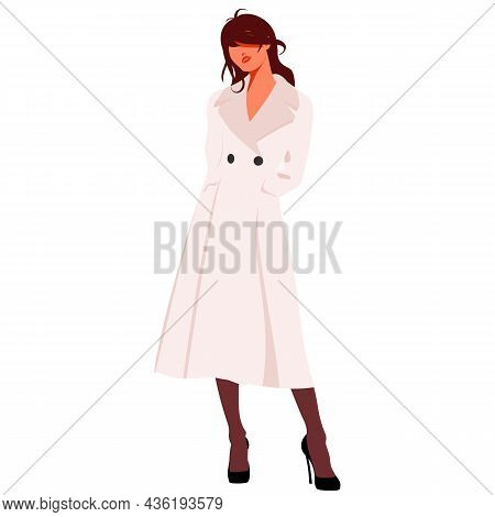 Beautiful Young Woman In Coat And Hat. Stylish Clothing Outfit. Fashion Look. Vector Illustration.