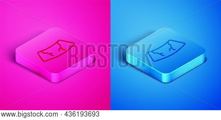 Isometric Line Broken Windshield Cracked Glass Icon Isolated On Pink And Blue Background. Square But