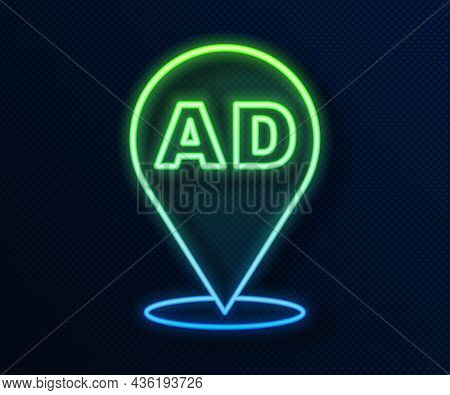 Glowing Neon Line Advertising Icon Isolated On Blue Background. Concept Of Marketing And Promotion P