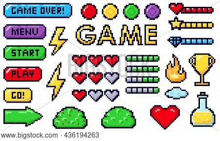 Pixel Game Buttons. Games Ui, Gaming Controller Arrows And 8 Bit Pixels Button.pixel Game Elements S