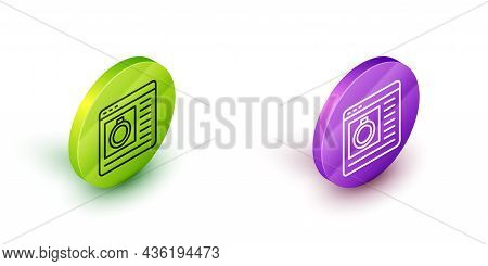 Isometric Line Jewelry Online Shopping Icon Isolated On White Background. Green And Purple Circle Bu