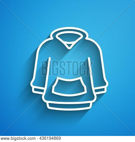 White Line Hoodie Icon Isolated On Blue Background. Hooded Sweatshirt. Long Shadow. Vector