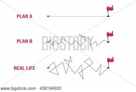 Plan Concept With Smooth Route A And Hard Road B Vs Messy Real Life With Flags On The End.