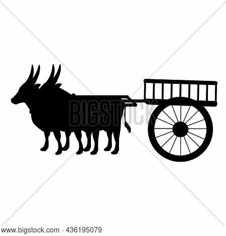 Silhouettes Oxen Pulling Cart. Traditional Agriculture Transportation. Illustration Symbol Icon
