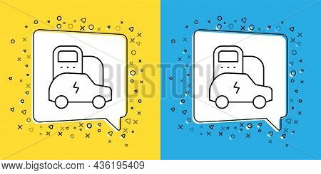Set Line Electric Car And Electrical Cable Plug Charging Icon Isolated On Yellow And Blue Background