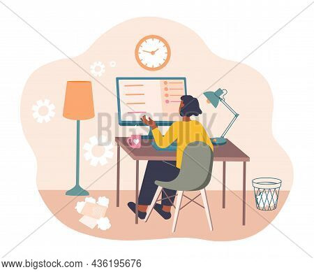 Elegant Businesswoman Working. Girl Works On Projects From Home. Woman Giving Instructions To Employ